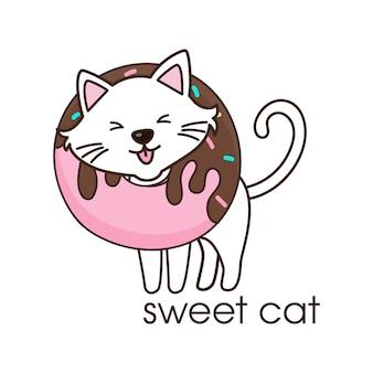 Joli chat blanc avec un beignet au cou