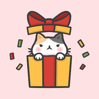 Joli chat dans une boîte cadeau surprise style de bande dessinée dessinée à la main de noël
