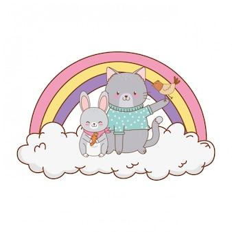 Joli chat dans un nuage avec personnage arc-en-ciel