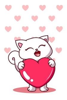 Un joli chat avec un grand dessin animé d'amour