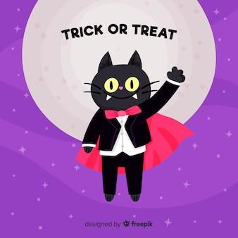 Joli chat d'halloween au design plat
