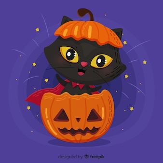 Joli chat d'halloween au design plat