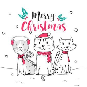 Joli chat et joyeux noël avec le style de dessin animé doodle