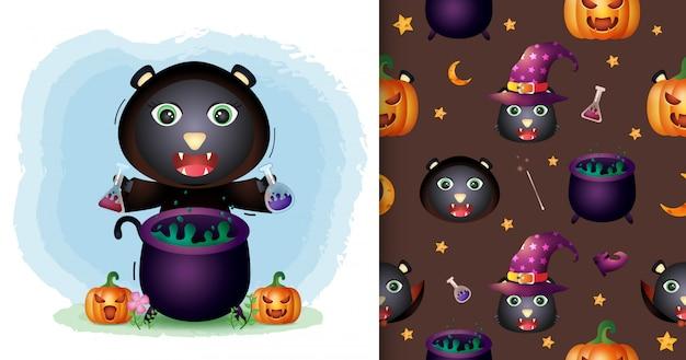 Un joli chat noir avec une collection de personnages halloween costume de sorcière. modèles sans couture et illustrations