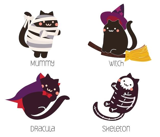 Joli chat noir en costume d'halloween