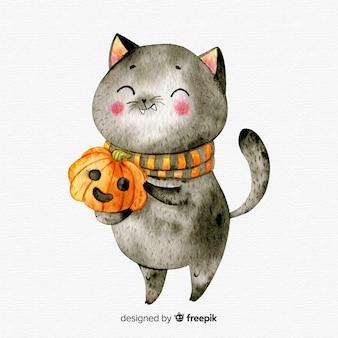 Joli chat noir halloween aquarelle