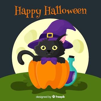 Joli chat noir d'halloween au design plat