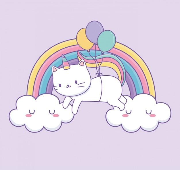 Joli chat à queue d'arc-en-ciel et ballons personnage kawaii à hélium