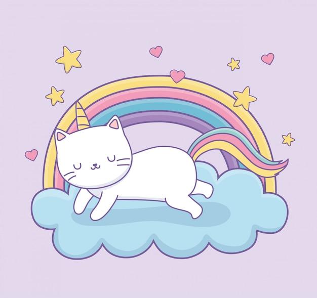 Joli chat avec queue arc-en-ciel sur le personnage kawaii de nuages