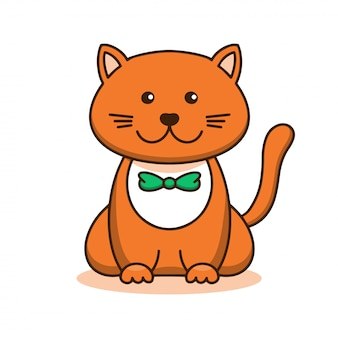 Joli chat rouge, dessin animé linéaire, croquis animal. illustration vectorielle