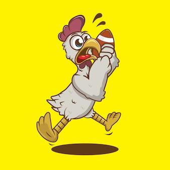 Joli coq blanc tenant un ballon