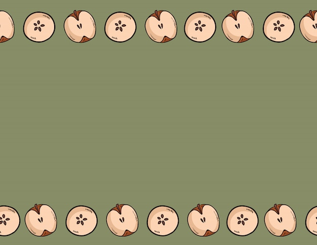 Joli coupé en deux pommes naturel dessiné modèle sans couture