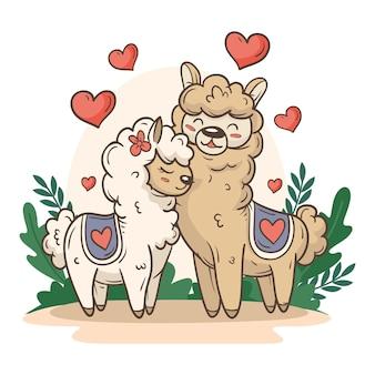 Joli couple d'animaux de la saint-valentin avec des lamas