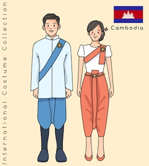 Joli couple asiatique avec des vêtements traditionnels