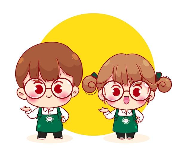 Joli couple barista en tablier avec invitation présente illustration de personnage de dessin animé
