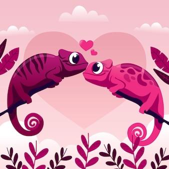 Joli couple de caméléon de la saint-valentin
