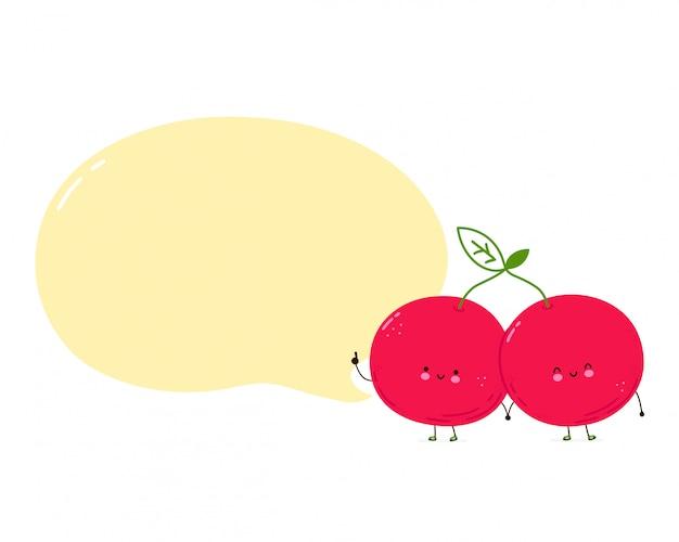 Joli couple de cerises heureux avec bulle de dialogue. isolé sur fond blanc. illustration de style dessiné main personnage de dessin animé