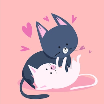 Joli couple de chatons de la saint-valentin