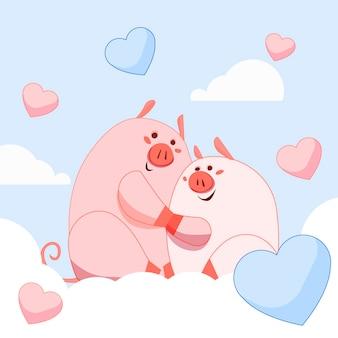 Joli couple de cochons de la saint-valentin