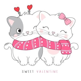 Joli couple doodle kitty pour l'illustration de la saint-valentin