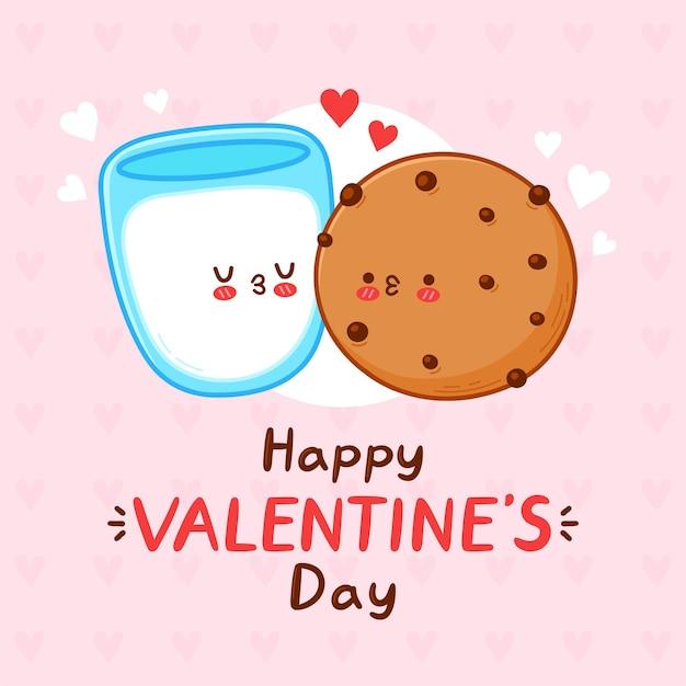 Joli couple drôle de biscuit et verre de lait