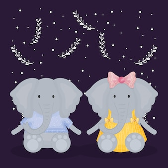 Joli couple éléphants avec personnages de vêtements
