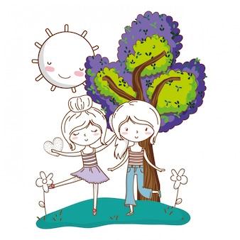 Joli couple filles amis nature colorée