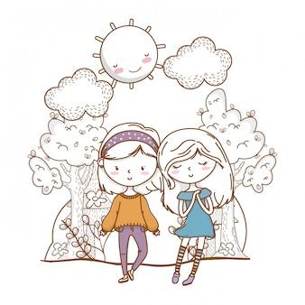 Joli couple filles amis nature