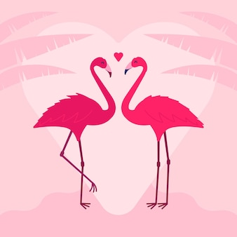 Joli couple de flamants roses pour la saint-valentin
