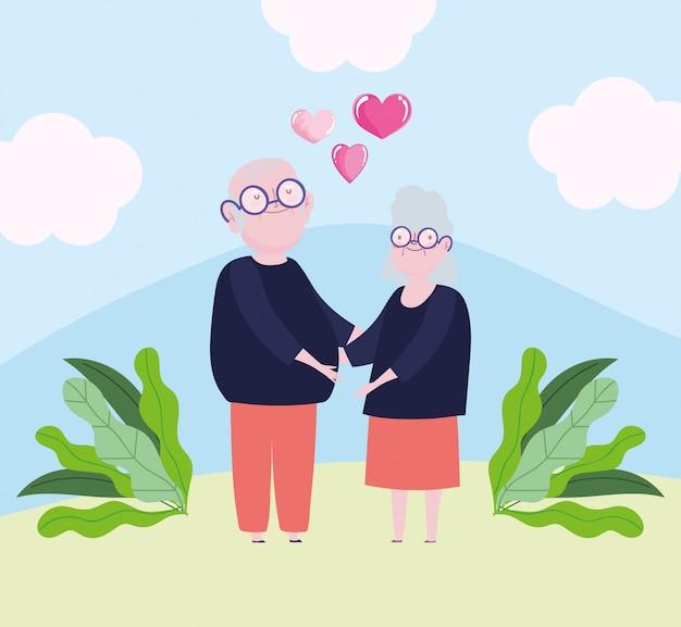 Joli couple de grands-parents avec coeur et ruban aiment la conception de dessin animé romantique