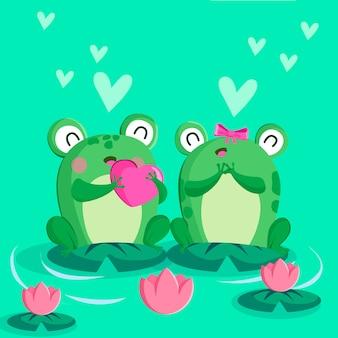 Joli couple de grenouilles saint valentin