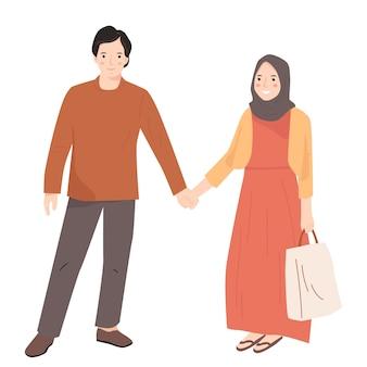 Joli couple jeune homme et femme dessin animé