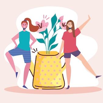 Joli couple de jeunes femmes heureux avec illustration de décoration florale