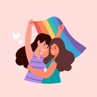 Joli couple de lesbiennes avec drapeau lgbt