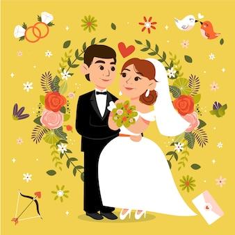 Joli couple marié illustré