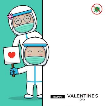Joli couple de médecin avec une bonne salutation de saint valentin