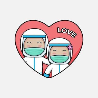Joli couple de médecin avec combinaison de protection le jour de la saint-valentin