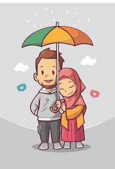 Joli Couple Musulman Avec Parapluie Vecteur Premium