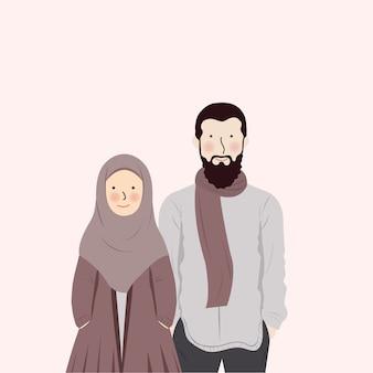 Joli couple musulman romantique portant des vêtements d'automne hiver debout près de l'autre