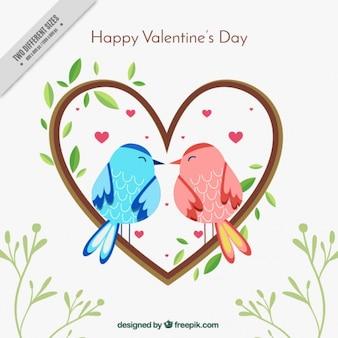 Joli couple d'oiseaux d'amour fond