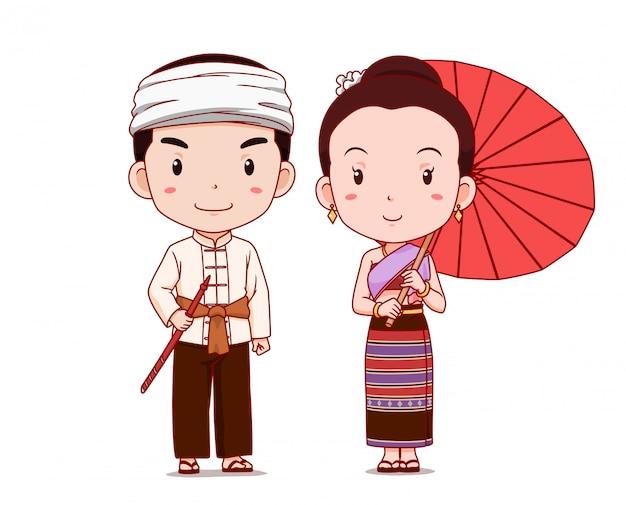 Joli couple de personnages de dessins animés en costume traditionnel de thai lanna.