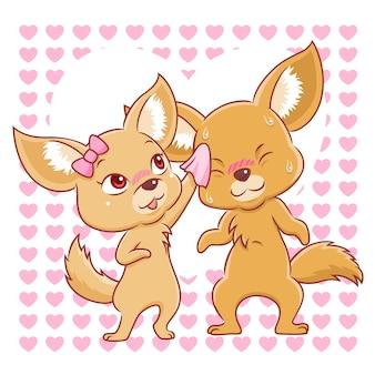 Joli couple de renards fennec tombant amoureux.