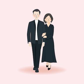 Joli couple romantique tenant la main et marchant ensemble dans une tenue formelle noire