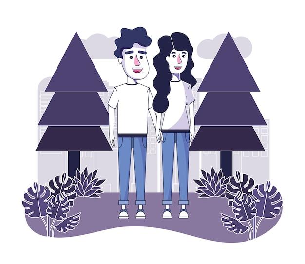 Joli couple avec des vêtements décontractés dans le paysage