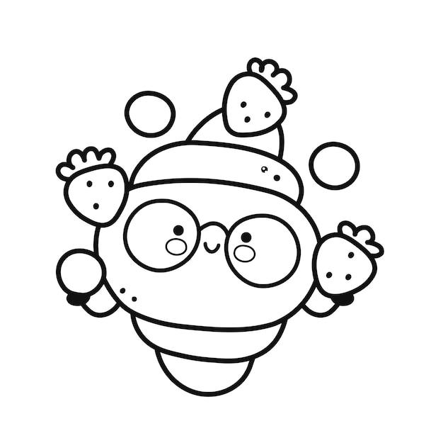 Un joli croissant heureux jongle avec la page des fraises et des bleuets pour un livre de coloriage. icône de personnage kawaii de dessin animé de ligne plate de vecteur. illustration dessinée à la main. isolé sur fond blanc. logo croissant