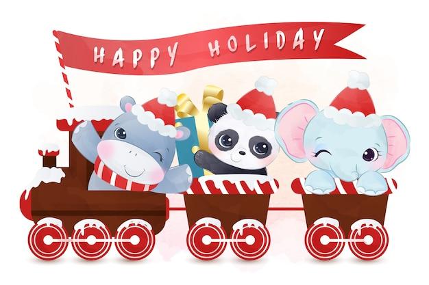 Joli défilé d'hippopotames, de panda et d'éléphants en période de vacances