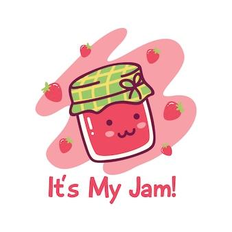 Joli design avec de la confiture de fraises kawaii