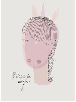 Joli doodle portrait de la petite licorne rose