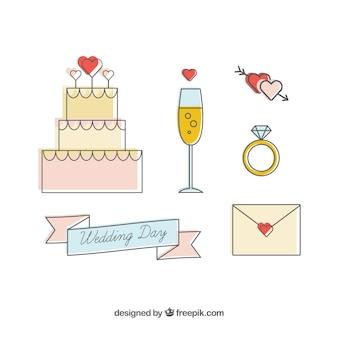 Joli ensemble d'articles de mariage