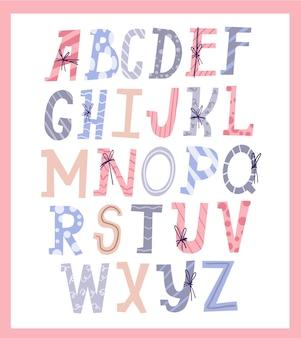 Joli ensemble de conception de style typographie lettre cadeau alphabet noël
